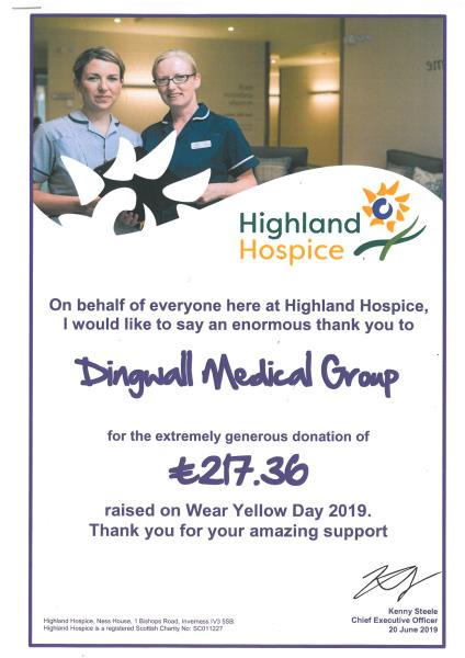 Highland Hospice Wear Yellow Day amount raised poster